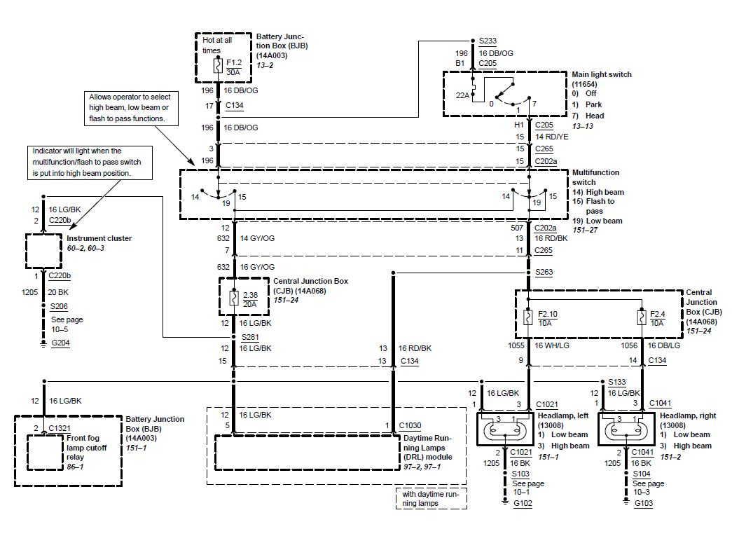 Head Lamp Wiring Diagram - 03/04 Cobra