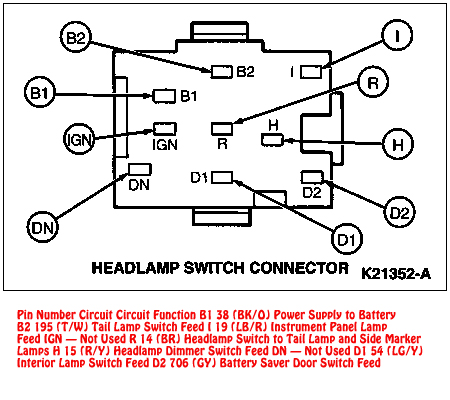 94-95 Mustang Headlight Switch Connector Diagram