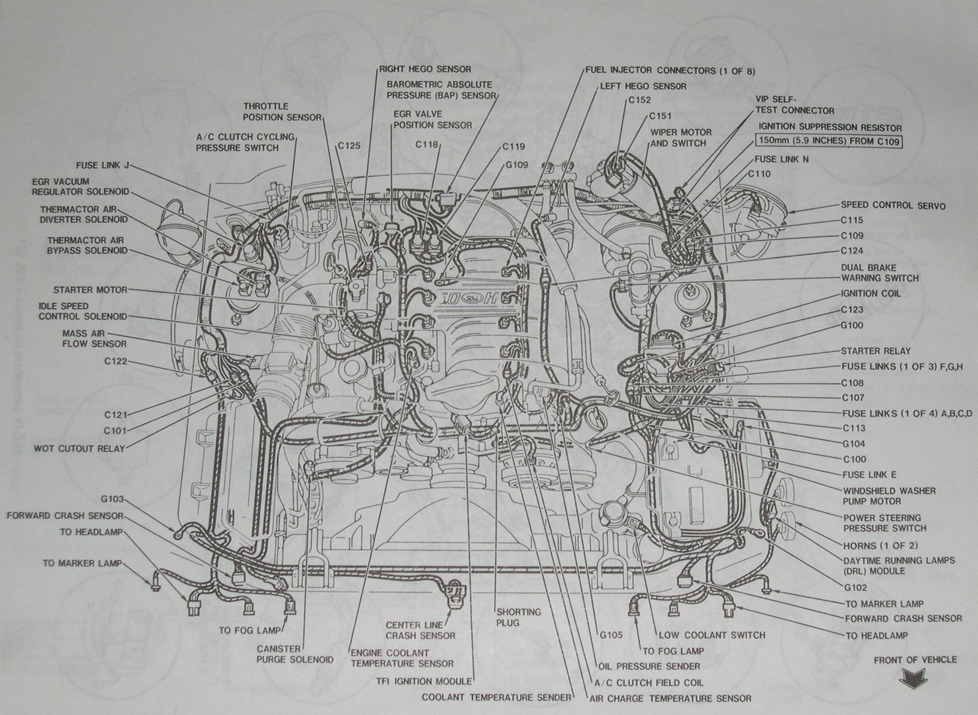 94-95 Engine Bay Diagram