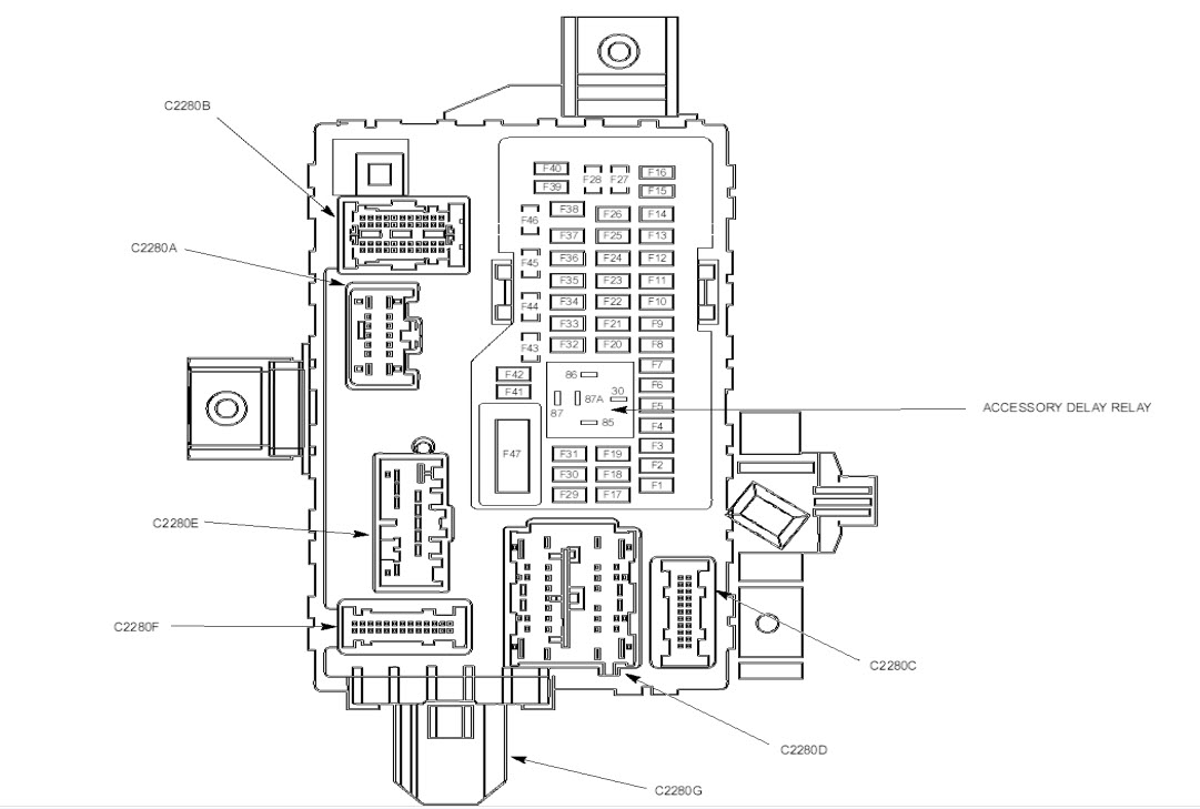 2011 mustang under dash fuse block diagram